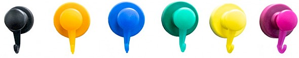 Plastic Covered Neodymium Magnet with Swivel Hook colours