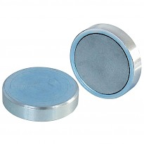 Ferrite Shallow Pot Magnets (Zinc Plated)