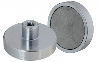 Ferrite Shallow Pot Magnets with Threaded hole